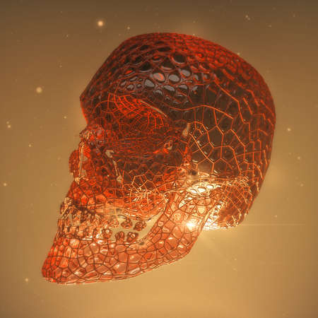 red glossy demon skull with blood veins and cracks. Horror 3d render concept illustration