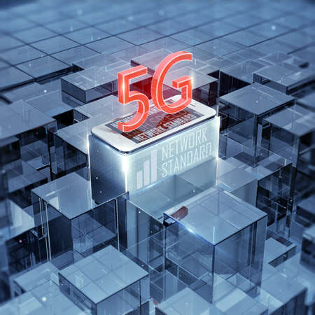 5G smartphone and text, sign, cellular high speed data wireless connection abstract glass background 3d render