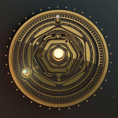 render: illustration fantasy dieselpunk solar system model astrolabe Steampunk Background. Quality 3D render Stock Photo