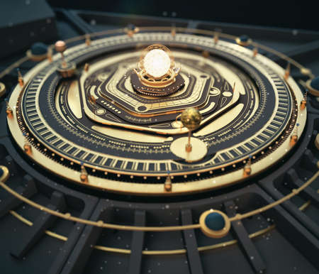 illustration fantasy dieselpunk solar system model astrolabe Steampunk Background. Quality 3D render Standard-Bild