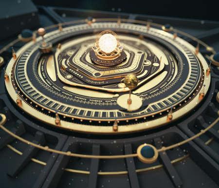 reloj de sol: Ilustración fantasía dieselpunk sistema solar modelo astrolabe Steampunk Antecedentes. Calidad 3D render