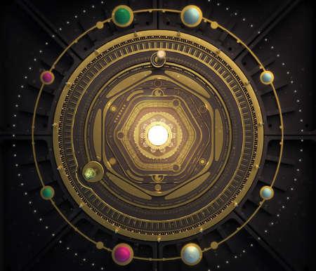 dieselpunk: illustration fantasy dieselpunk solar system model astrolabe Steampunk Background. Quality 3D render Stock Photo