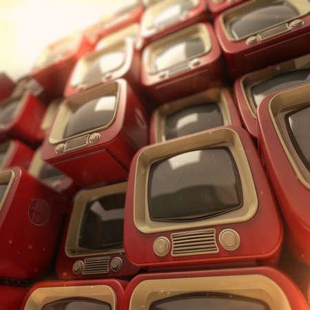Pile of color retro TV. Antique television sets background. 3D rendering illustration Stock Photo