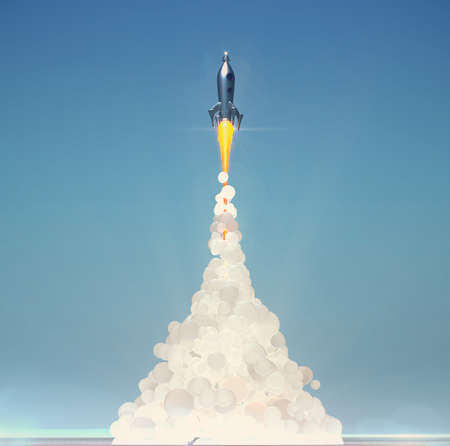 cute vintage rocket launch with soft fluffy smoke on light blue background 3d render