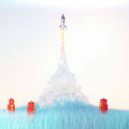 red toy robots watch cute vintage rocket launch with soft fluffy smoke on light blue background on blue grass 3d render Stock Photo