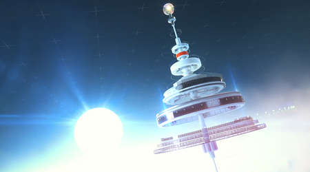 Futristic space station floating in the atmosphere against rising sun. 3d render background illustration