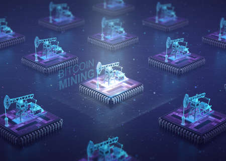 Computer Circuit Board with muliple asic chips and oil pump jacks on top of cpu. Blockchain Cryptocurrency Mining Concept. 3D Illustration. Stock Illustration - 81886988