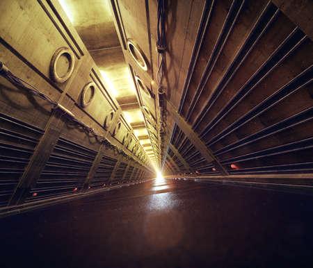 empty concrete subway fallout shelter sci-fi tunnel corridor hallway 3d render Reklamní fotografie