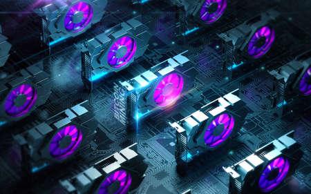 Resumen de espacio cibernético con múltiples farmacias de videocards gpu. Blockchain Cryptocurrency Minería Concepto. Procesamiento 3D