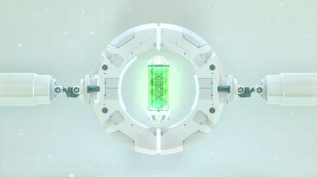 Futuristic stage with round frame green capsule with dna in it. Future background. biotechnology Sci-fi hi tech concept. 3d Zdjęcie Seryjne
