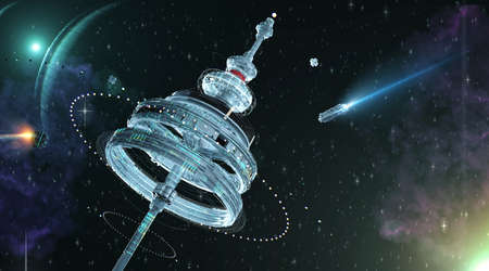 3d Illustration of a space station with multiple gravitational rings over a gorgeous space panorama. with stars nebulas and small spaceships fly towards space dock. 3d rendering