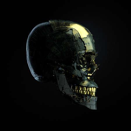 Robot cyborg skull com superfície escura e elementos brilhantes dourados lado wiev isolado no fundo preto, 3D render Foto de archivo