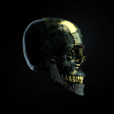Robot cyborg skull with dark surface and golden glossy elements side wiev isolated on black background, 3D render Standard-Bild