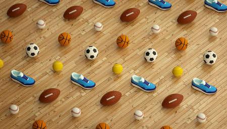 isometrische sport fitness achtergrond gemaakt van voetbal, voetbal, tennis, honkbal ballen en kleurrijke hardlopen sneakers. 3d render