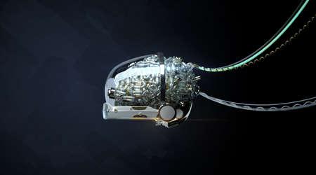 Wired glossy robotic organ - brain 3d render Cyborg brain illustration generative Neural networks machine learning metaphor
