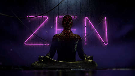 bio tech cyberpunk human figure sitting in lotus on urban futuristic background with hanging wires and purple neon letters zen on the wall 3d render illustration Stock Photo