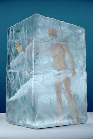 3d render of human frozen in big ice block with cracks and facets. Cryogenics extreme temperatures disaster storage conept illustration