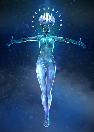 3d illustration of beautyful ice woman with glowing crystal crown and small crystals on the body Floating in the air with hands strtched enchanting. snow magic queen music poster concept render Stock Photo