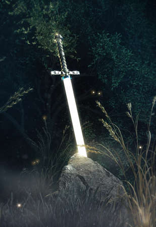 Shining in the dark sword excalibur King Arthur stuck in the rock stone in misterious forest render. metaphor of candidate applicant test, fight for good.