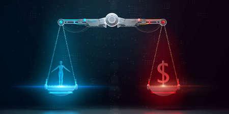 échelles cyber-numériques avec humain d'un côté et signe dollar commercial de l'autre. éthique numérique, valeur des données personnelles, protection cryptographique et responsabilité d'entreprise rendu 3d Banque d'images