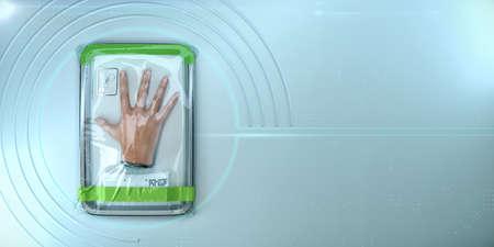 human hand, bionic organ packed in plastic vacuum wrap. concept of replacing donor organs. longevity medical care augmentation transplantation 3d render Zdjęcie Seryjne