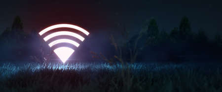 glowing neon wifi symbol in the night field.  5g network, coverage area, navigation concept with copy space 3d redner