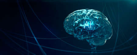 Machine learning , artificial intelligence , ai, quantum computer deep learning blockchain neural network concept. translucent brain with shining wireframe in abstract cyberspace 3d render. Banco de Imagens