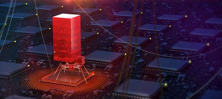 red glowing compiter bug on infected chip in cyberspace 3d redner. spyware, malware, virus trojan, keylogger, hacker attack illustration. Zdjęcie Seryjne