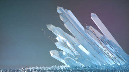 translucent subtle colored crystals with thin golden grass 3d render background ice winter luxary vip sci-fi concept. Zdjęcie Seryjne