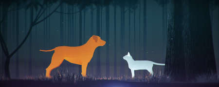 glowing orange dog and blue cat silhouette in magical forest misty friendship contradiction gender poster template copy space.