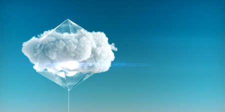 cloud enclosed in a crystal structure with luminous faces and glass sides concept of cloud service of cloud computing and big data 3d rendered illustration