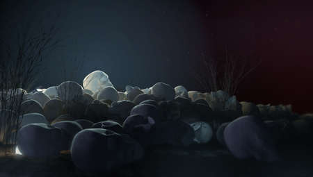 pile of skulls at night with dramatic lighting horrors background 3d illustration halloween murder death concept side view.