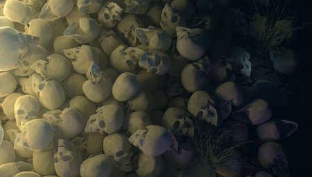 pile of skulls at night with dramatic lighting horrors background 3d illustration halloween murder death concept top view