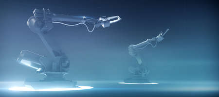 two futuristic robotic industrial arm manipulators on hi tech blue background, concept of future industry, high tech, machine learning advanced technology innovation, 3d rendering