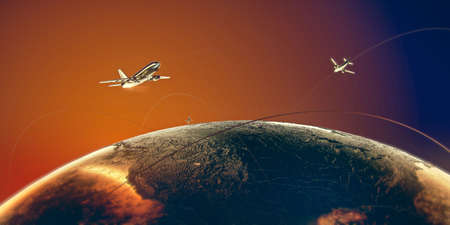 Golden airplanes fly around the world above metal earth in colorful orange-blue skies on golden trails.