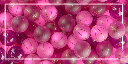background made of trnslucent pink basketballs glossy and matte with golden stripes, womans basketball poster sports fashion with copy space. 3d render.