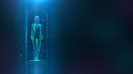 Clinical study, healthcare concept with 3D female body hologram and hud elements. Neural network artificial intelligence examination of human health and proper treatment in HUD style. Sci 3D x-ray. 3d render