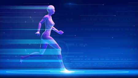 Sportswoman fit woman running fast with futuristic hologram effect on blue abstract background. with copy space. tracker run, health, fitness, workout, lifestyle, speed 3d rendering illustration Zdjęcie Seryjne