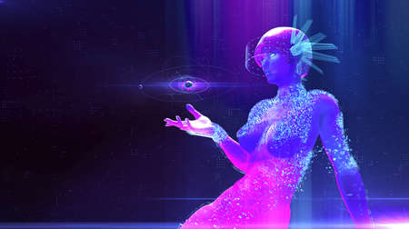 augmented reality, science, future technology and people concept - female cyborg robot in futuristic VR gear with virual charts projection ai neural networks digital ethics 3d render Zdjęcie Seryjne