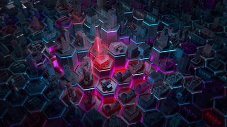 Abstract 3d city rendering with lines and digital elements on hexagonal basis. Technology smart city management internet of things IoT connection concept illustration