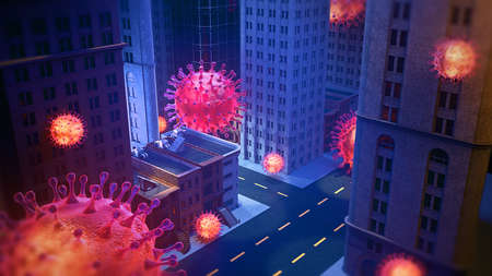 3D Rendering, virus particle over city in the streets. Danger Pandemic quarantine social distancing self isolation disease concept