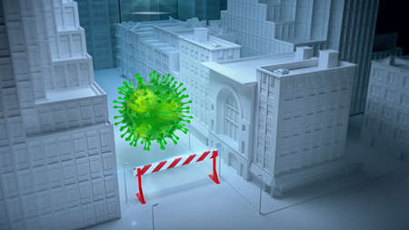 3D Rendering, virus particle over city in the streets in front of quarantine barrier stop sign. Danger Pandemic quarantine social distancing self isolation disease concept