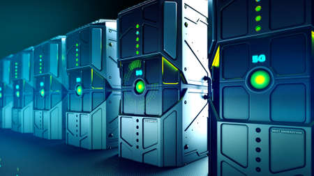 3D illustration military look rugged servers and Big Data Transmission, 5G Network, Network Technology and Information Technology Processing, Data Security and Protection
