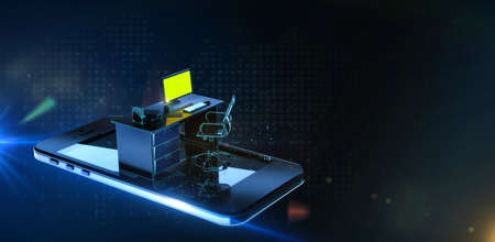 office desk monitor keyboard armchair and mouse on smartphone screen in digital cyberspase. Concept of mobile office, Quarantine online outsource work remote jobs. 3d Rendering