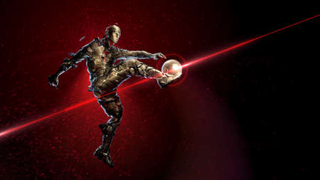 Bronze soccer player holding a jump kick. broken into small fragments against a background of sparks and flame with a golden ball. concept of epic victory in sports 3d render