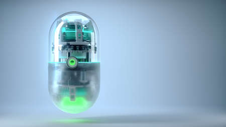 The concept future medicine and bioengineering capsule with nano tech inside, medical symbol of nano-robotic technology for treating diseases and prolonging human life neural networks and blockchain technology 3d render. Zdjęcie Seryjne