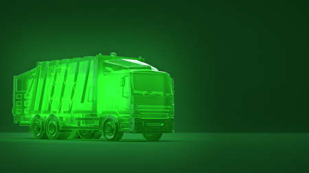 translucent glowing green dump trash truck with recycle symbol on green background. concept of ecology dump operations recycle eco friendly environment 3d render Zdjęcie Seryjne