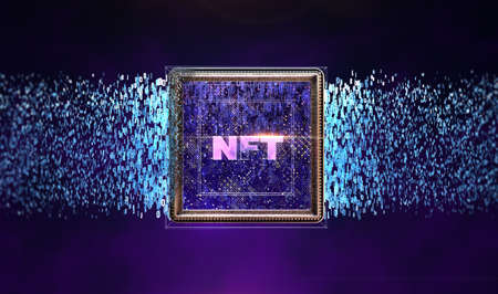 NFT non fungible tokens crypto art on colorful abstract