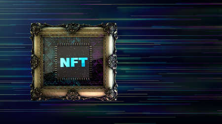 NFT non fungible tokenscrypto art on colorful abstract background. Pay for unique collectibles in games or art. 3d render of NFT crypto art collectibles concept