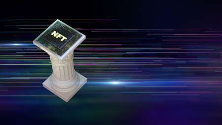 NFT non fungible tokens crypto art on colorful abstract background. antique pillar with chip Pay for unique collectibles in games or art. 3d render of NFT crypto art collectibles concept.